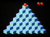 The Hydra DIY game console running a Q-bert clone