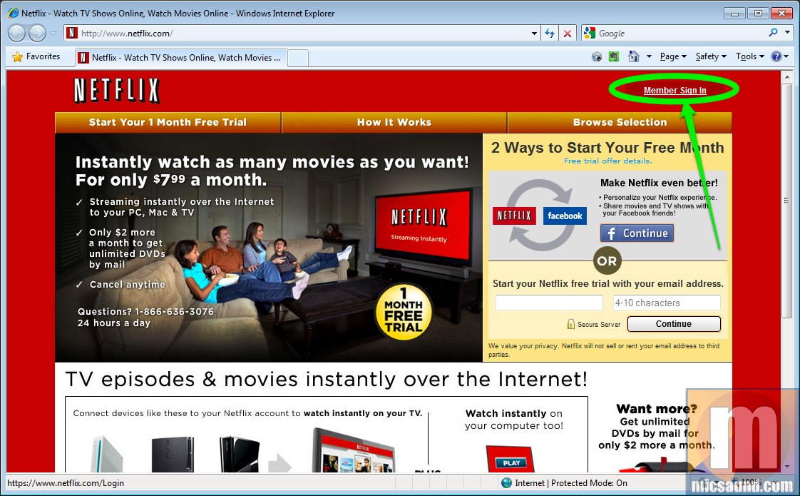 Logging into Netflix